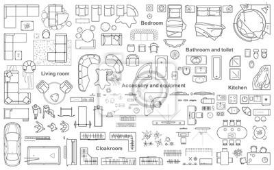 Bild: Set von möbeln draufsicht für wohnungen planen. das layout der