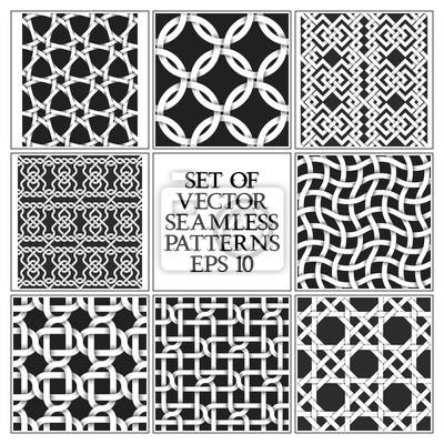 Bild Set von monochromen nahtlose Muster. Farbfelder von abstrakten, wiederholbaren Hintergründen.