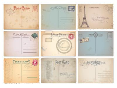 Bild Set von neun leeren Vintage-Vektor-Postkarten