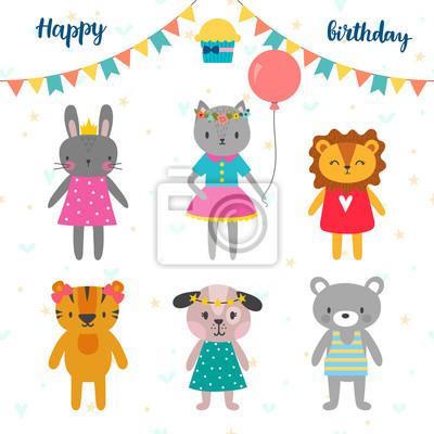 Bild Set Von Niedlichen Cartoon Tiere Fur Happy Birthday Design