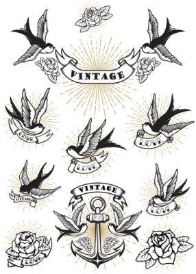 Set Von Schwalben Tattoo Vorlagen Isoliert 5