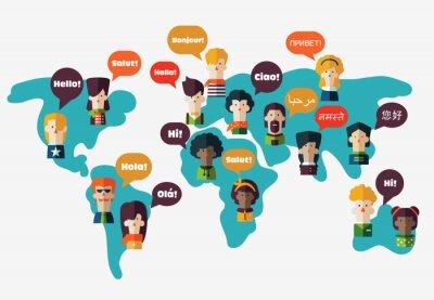 Bild Set von sozialen Menschen auf Weltkarte mit Sprechblasen in verschiedenen Sprachen