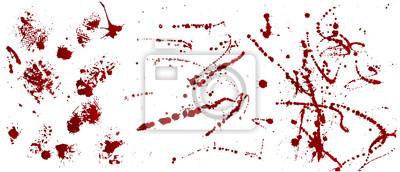 Bild Set von verschiedenen Blut oder Farbe Splatters, Vector Set von verschiedenen Blut Spritzer, Tropfen und Trail. Isoliert auf weißem Hintergrund.