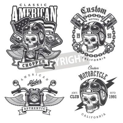 Bild Set von Vintage Motorrad T-Shirt Drucke, Embleme, Etiketten, Abzeichen und Logos. Einfarbiger Stil. Isoliert auf weißem Hintergrund