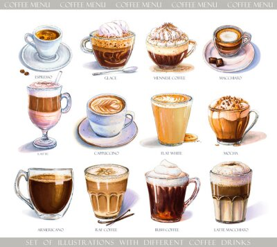 Bild Set with diferent coffee drinks for cafe or coffeehouse menu. Illustration of strong espresso, gentle latte, sweet macchiato and cappuccino, Viennese coffee and glace with ice cream.