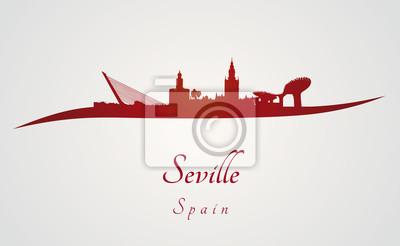 Bild Sevilla Skyline in rot