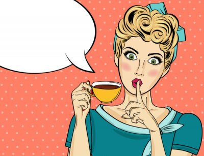 Bild Sexy blonde pop art woman with coffee cup