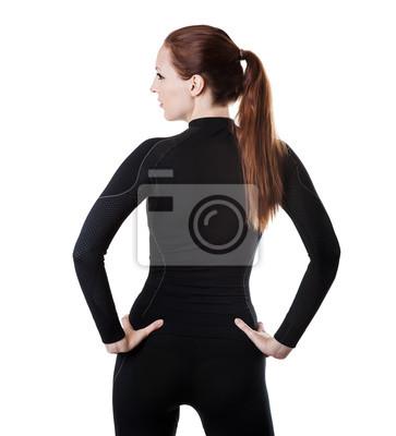 sexy Frau in schwarzen thermolinen Unterwäsche