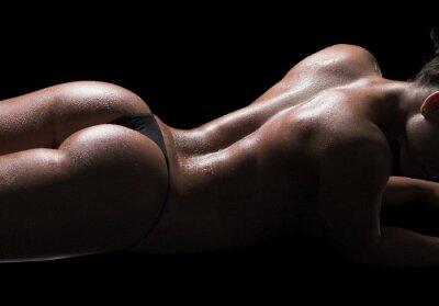 Bild Sexy Frau Körper, nasse Haut, schwarzer Hintergrund