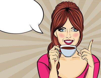 Bild Sexy pop art woman with coffee cup