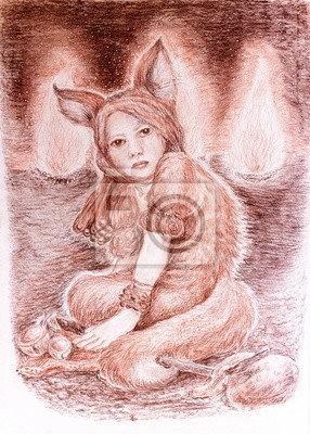 Shamanic young woman in fox costume sitting near sacred fires