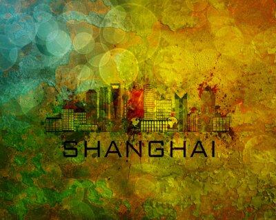 Bild Shanghai City Skyline auf Grunge Hintergrund Illustration