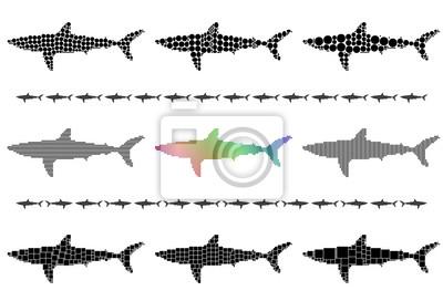 Shark silhouette mosaic set