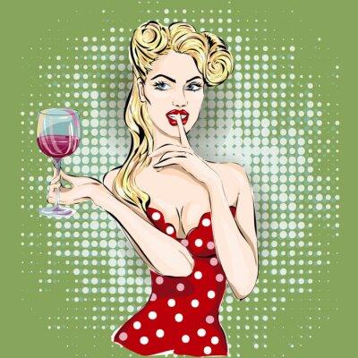Bild Shhh Pop-Art Frau Gesicht mit Finger auf die Lippen und ein Glas Wein