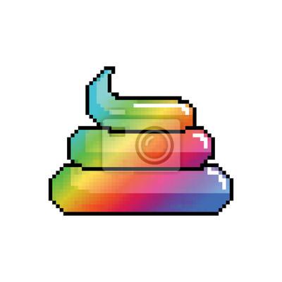 Shit Unicorn Pixel Art Regenbogen Turd Pixelig Poop Isoliert