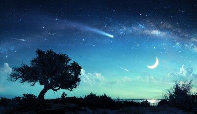 Shooting Stars In Fantasy Landschaft Nachts