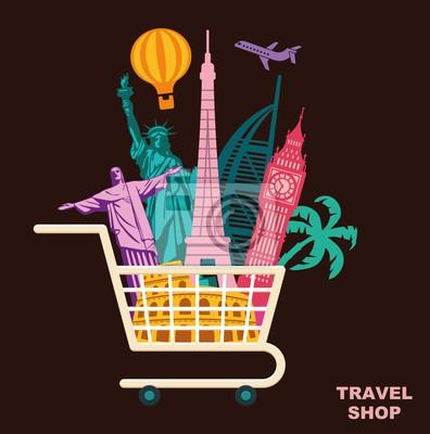 Shop Reisen. Konzeptionelle Vektor-Symbol