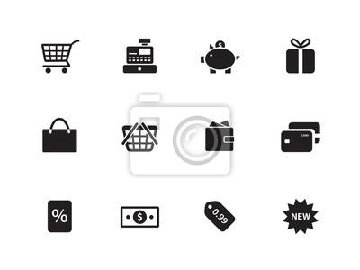 Shopping icons auf weißem Hintergrund.