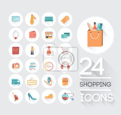 Shopping und Einzelhandel Symbole auf grau