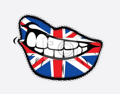 Sich Lippen mit Großbritannien Flagge