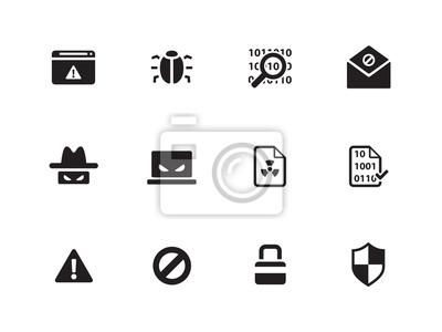 Sicherheit Symbole auf weißem Hintergrund.