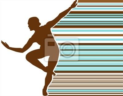 silhouett Tanz Farbe Retro-Streifen 01