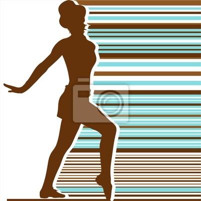 silhouett Tanz Farbe Retro-Streifen 02