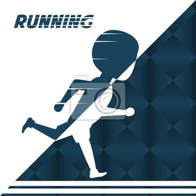 Silhouette Athlet Mann läuft in Wettbewerb Meisterschaft, Vektor-Illustration