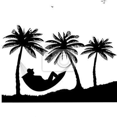 Silhouette der mädchen der hängematte unter den palmen am strand ...