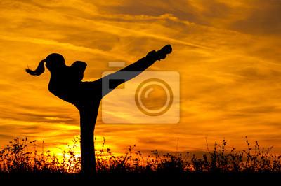 Silhouette der schönen Mädchen, die Ausübung Kickboxen high kick