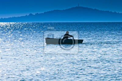Silhouette eines Fischers