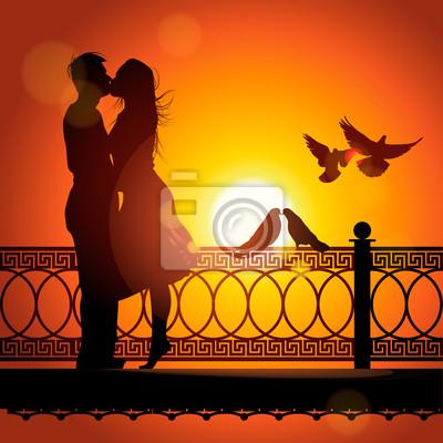 Silhouette eines Paares in der Liebe küssen, Vektor-Illustration eps10.
