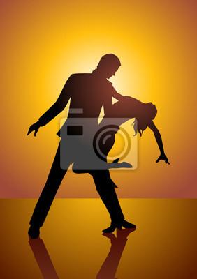 Silhouette eines Paares tanzen