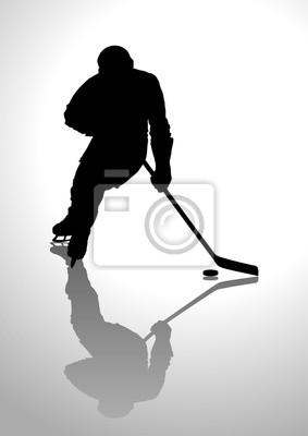Silhouette Illustration eines Hockeyspielers
