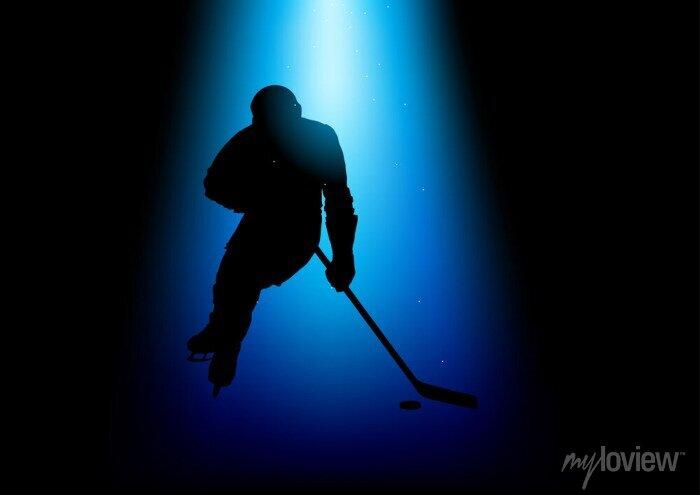 Bild Silhouette Illustration eines Hockeyspielers