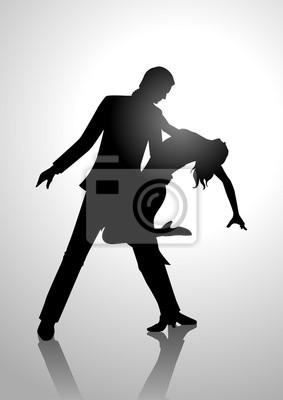 Silhouette Illustration eines Paares tanzen
