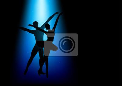 Silhouette Illustration eines Paares tanzen Ballett