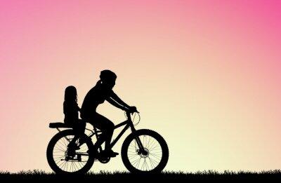 Bild Silhouette Mutter Fahrrad fahren mit Tochter auf verschwommenen Sonnenaufgang