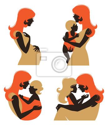 Silhouette Mutter mit Baby. Set Silhouette der schwangeren Frau ein