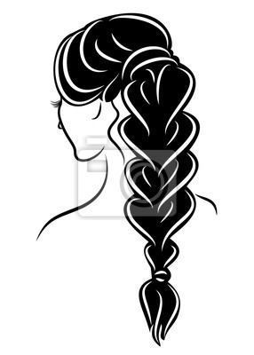 Bild Silhouette profile of a cute lady's head. The girl shows the female hairstyle braid on medium and long hair. Suitable for advertising, logo. Vector illustration.
