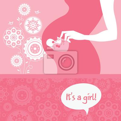 Silhouette schwangeren Mutter mit Baby Schühchen. Neugeborenes gre
