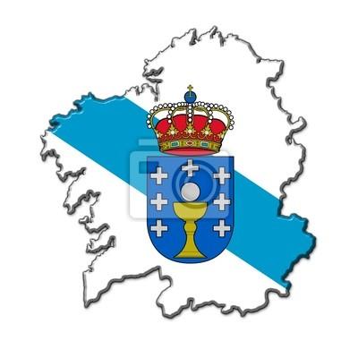 Silueta Galicia en entlasten con colores bandera