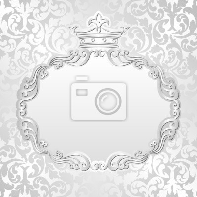 Bild silver background with vintage frame and crown