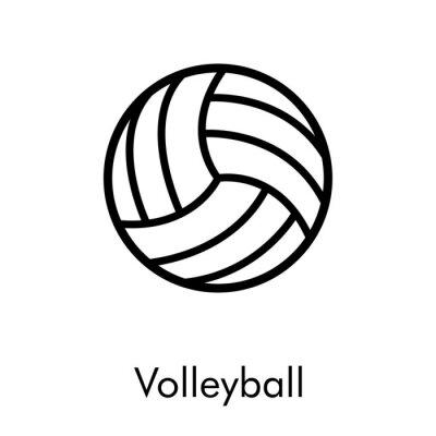 Símbolo Volleyball. Icono plano lineal pelota de voleibol en color negro