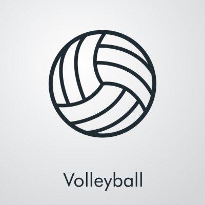 Símbolo Volleyball. Icono plano lineal pelota de voleibol en fondo gris