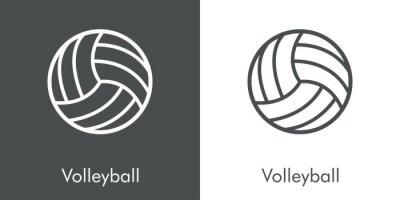 Símbolo Volleyball. Icono plano lineal pelota de voleibol en fondo gris y fondo blanco