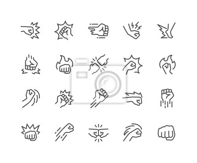 Bild Simple Set of Fight Related Vector Line Icons. Contains such Icons as Fist Bump, Hit, Strike and more. Editable Stroke. 48x48 Pixel Perfect.