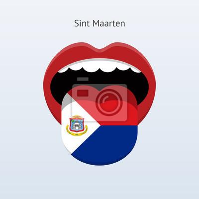 Sint Maarten Sprache. Abstrakt menschliche Zunge.