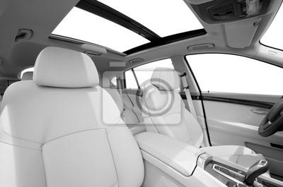 Bild Sitze und panarama Fenster im modernen weißen Sportwagen, Blick zurück