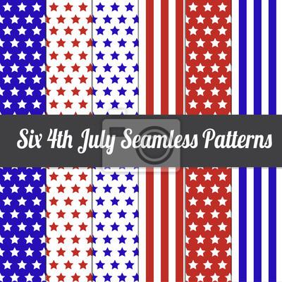 Six 4. Juli Seamless Pattern Vector Illustration